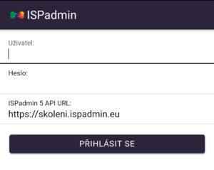 Přihlašovací obrazovka aplikace