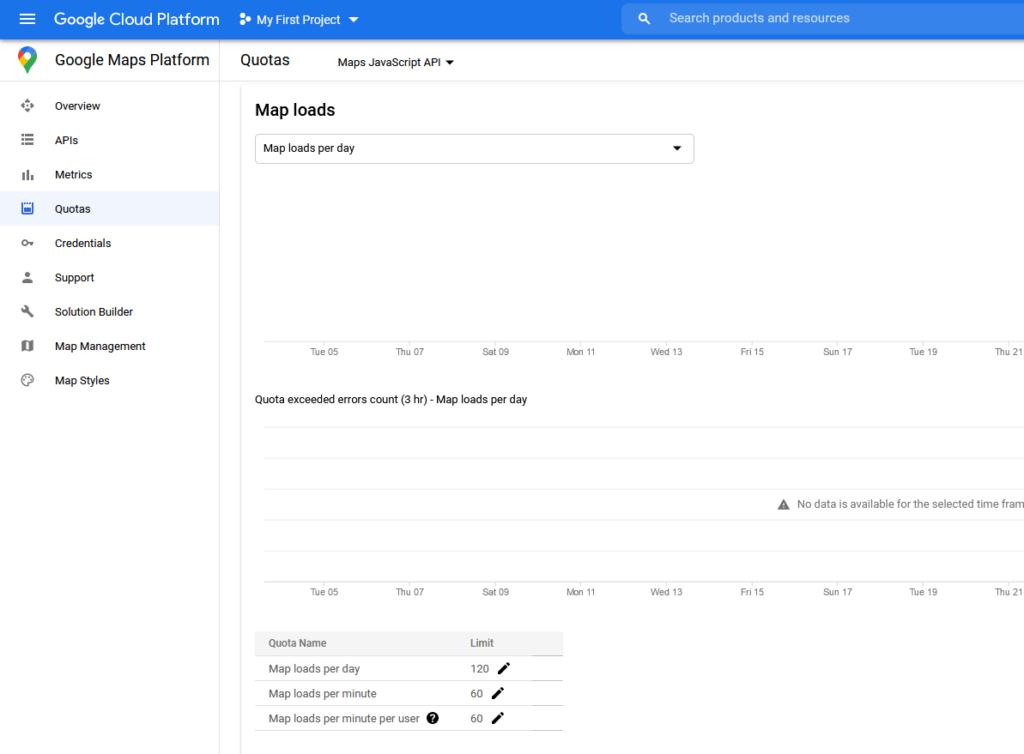 Rozhraní Google Cloud Platform a nastavení kvót u Maps JavaScript API