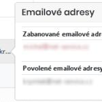 Informace o povolených nebo blokovaných e-mailových adresách tiketu