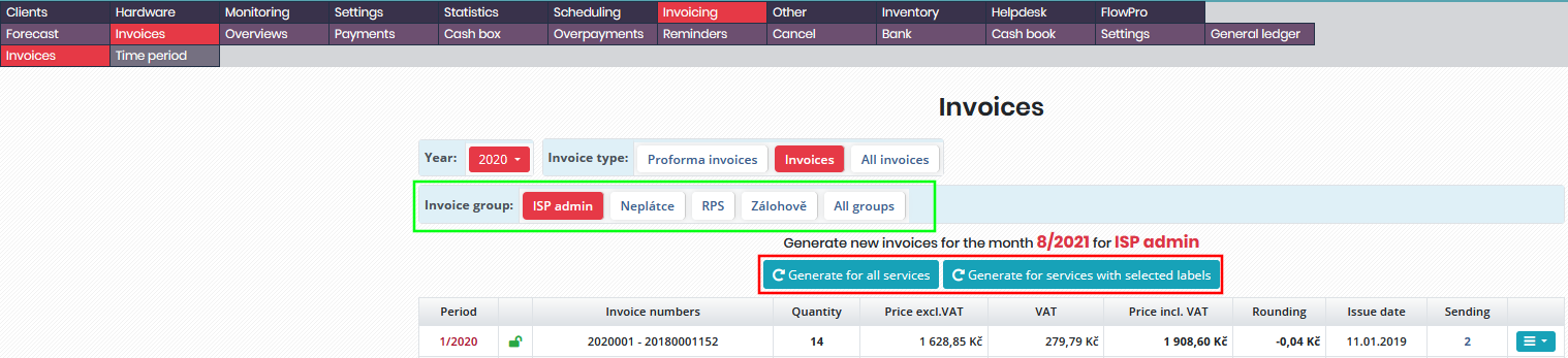 Setting invoice sequence number in bulk invoice generation for particular invoice group