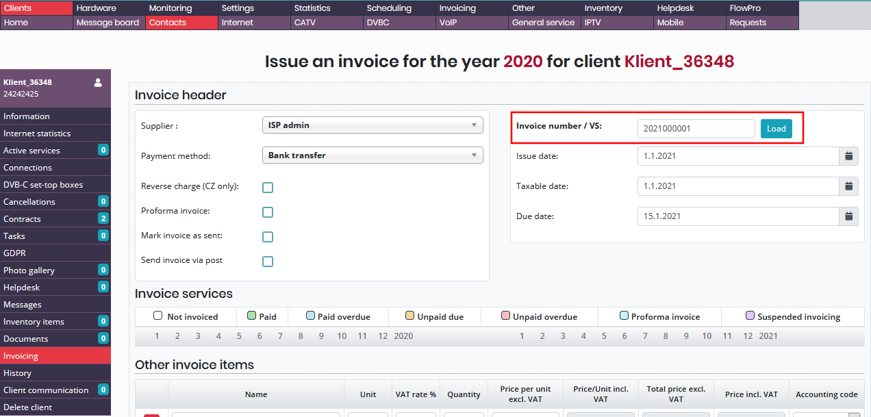 Setting invoice sequence number in individual invoice generation