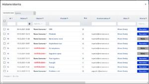 Zobrazení historie klienta (všechny tikety z povolených oddělení uživatele)