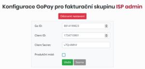 Konfigurace údajů služby GoPay u vybrané fakturační skupiny