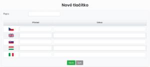 Formulář pro vytvoření nového tlačítka