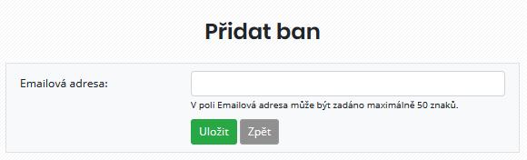 Formulář pro přidání nové blokované e-mailové adresy