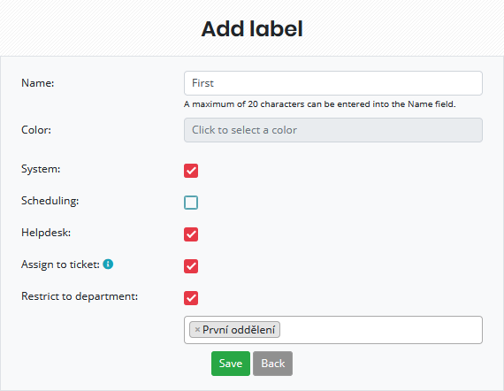 Setting up automatic assignment of a label to a section-restricted ticket (this label can only be used in selected departments)
