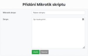 Formulář pro vytvoření nového skriptu