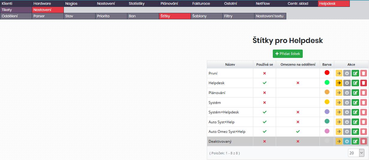 Seznam štítků nadefinovaných pro systém (v tomto menu lze však spravovat pouze štítky pro helpdesk)