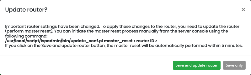 Info about Router master-reset