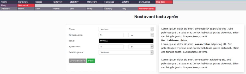 Formulář pro nastavení textu pro odpovědi na tikety (vpravo náhled)