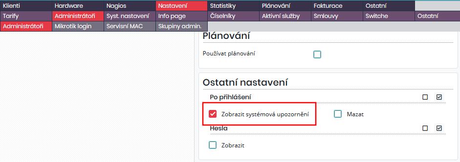 Možnost zobrazit informace o zálohách v Dashboardu