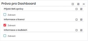 Nastavení práv pro zobrazení informací o licenci v Dashboardu