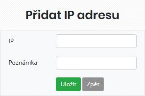 Formulář pro přidání IP adresy nebo rozsahu