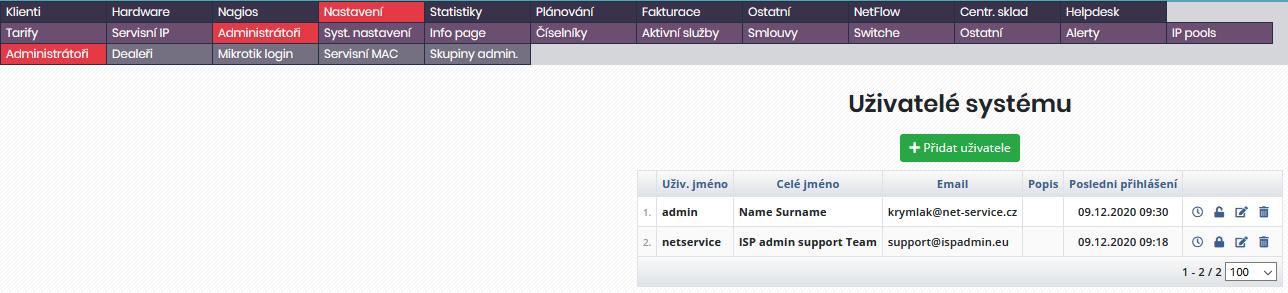 Výchozí seznam vytvořených uživatelů a administrátorů systému