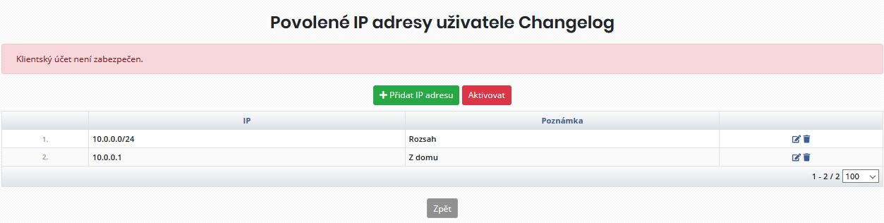 Seznam zadaných IP adres/rozsahů, které prozatím nejsou aplikované (nejsou aktivní)