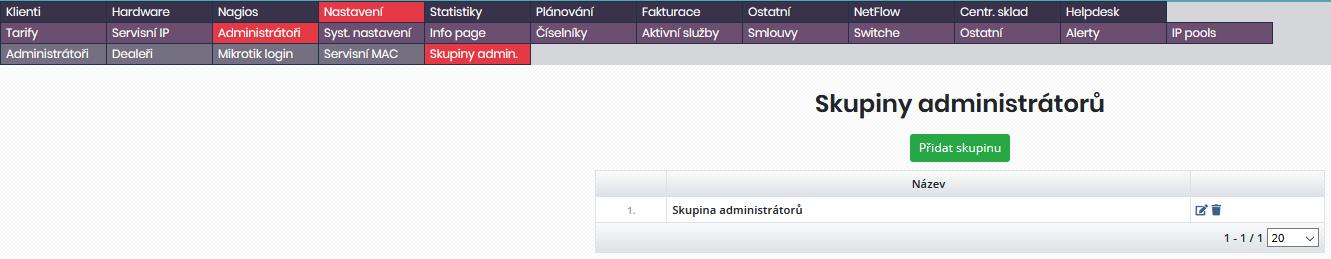 Výpis skupin uživatelů nebo administrátorů