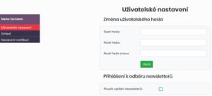 Nastavení hesla a povolení zasílání newsletterů