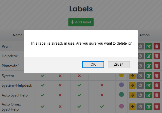 Warning when trying to delete a used label